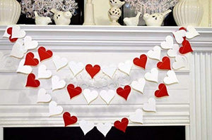 Paper heart garland for Valentines.
