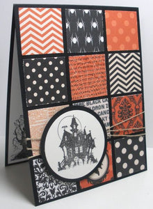 Halloween card made with multiple squares of orange and black prints and well as Halloween prints.