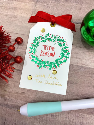 Holiday Gift Tag made by hand using Foil Quill Freestyle Heat-Tip Pen
