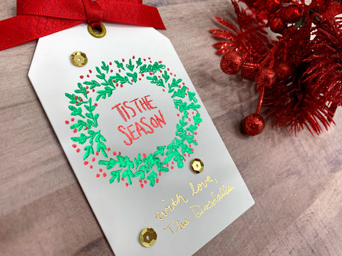 'tis the Season Christmas Wreath Holiday Gift Tag foiled with Foil Quill Freestyle Pen