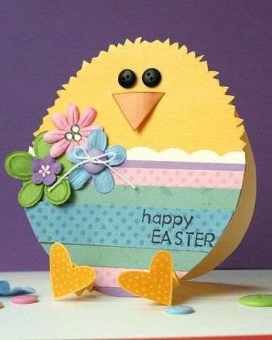 Homemade Easter egg card that looks like a baby chick