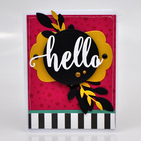 "Stenciled Colored Cardstock ""Hello"" Card. #12x12cardstockshop #cardmkaing"