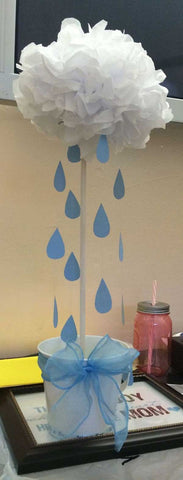 Topiary tree for a baby shower clouds and cardstock raindrops