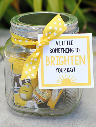 A little jar of sunshine to Brighten Your Day gift jar filled with yellow treats of sunshine!