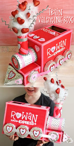 Train Valentine box for school parties made with cardstock