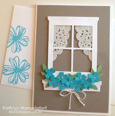 Window frame birthday card made with cardstock