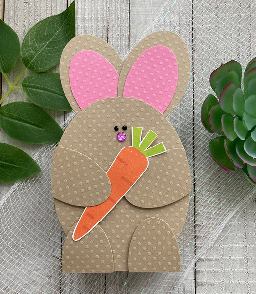 paper bunny made from dotted swiss