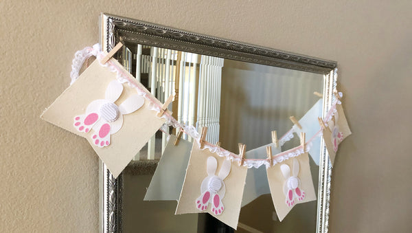 easter bunny canvas banner on a mirror