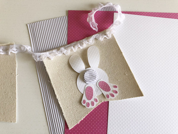 Easter Bunny Canvas Banner using Dotted Swiss