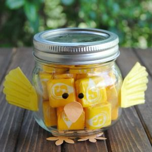 DIY glass  jar and decorate like a yellow chick and fill with candy