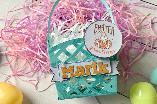 paper easter basket cut with cricut