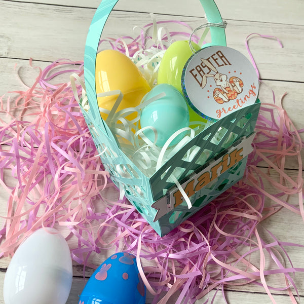 paper easter basket cut on Bazzill Robin's Egg