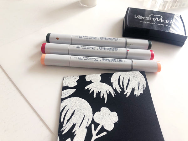 how to color on black cardstock with copic markers