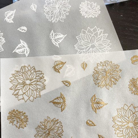 embossed flowers on vellum