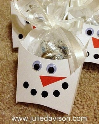 French fry box pattern made into a cute snowman treat box with white cardstock.