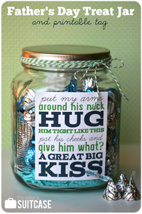 Father's Day Jar filled with hugs and kisses