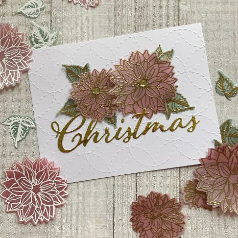 handmade Christmas card with colored vellum flowers
