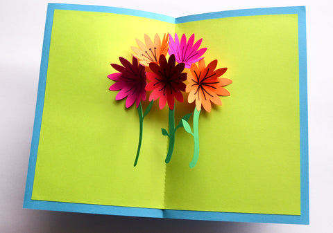 Pop up card of flowers card made with cardstock