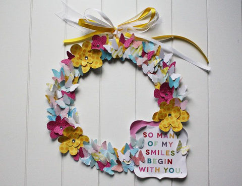 Paper flower wreath or Mother's Day or spring.