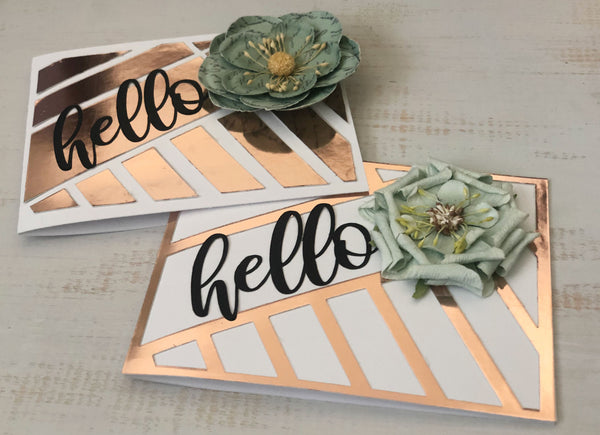 two handmade cards with rose gold foil accents