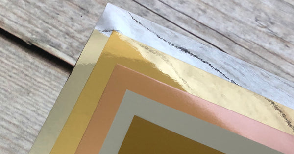 gold, silver and rose gold foil cardstock