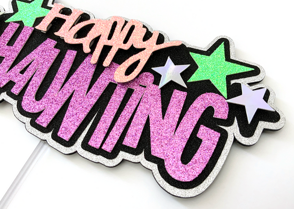 happy haunting cake topper made with glitter cardstock