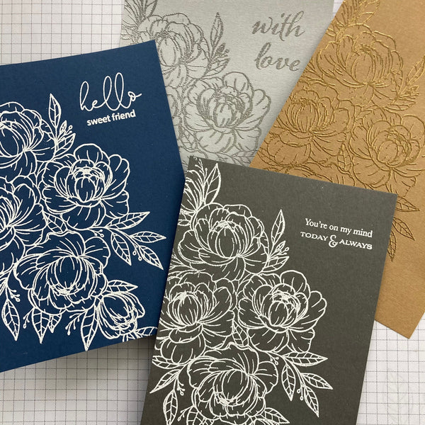 handmade cards stamped with bleach