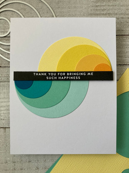 handmade card with monochromatic cardstock circles