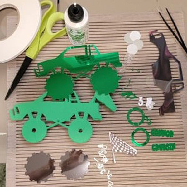 supplies needed to assemble a monster truck cake topper
