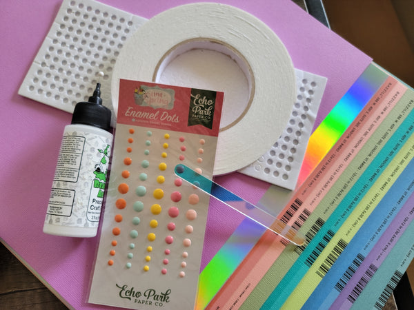 supplies for a cardstock cake topper