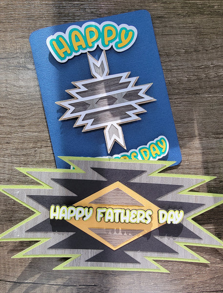 wood geometric design father's day cards