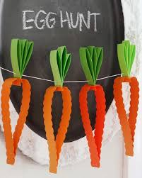 Paper carrot garland for Easter