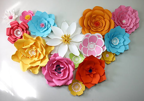 Paper flower heart shape for photo op, poster or card.