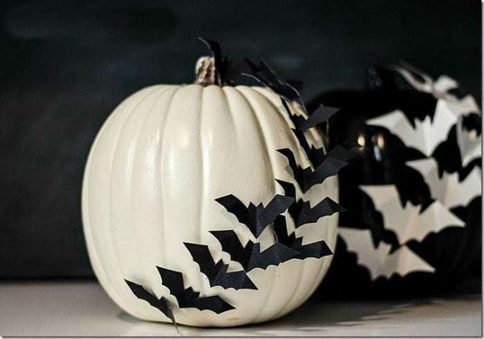 Decorated Halloween pumpkins with paper bats
