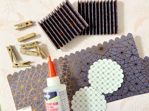 supplies for making a paper rosette fan