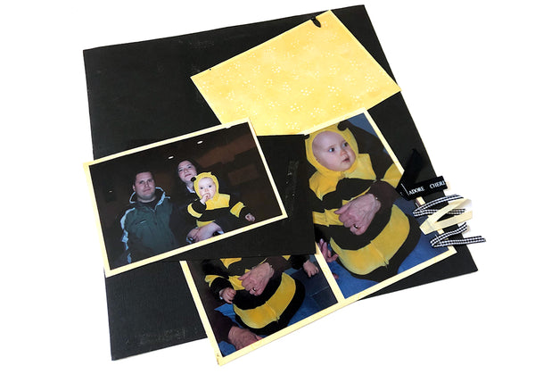 black and yellow scrapbook page that came apart