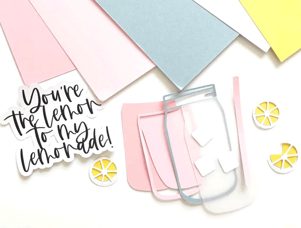 paper and supplies to make a lemonade themed card