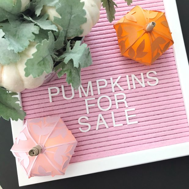 pumpkins for sale sign with paper pumpkin luminaries