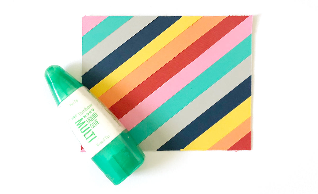 striped rainbow card with Tombo Multi Liquid Mono Adhesive