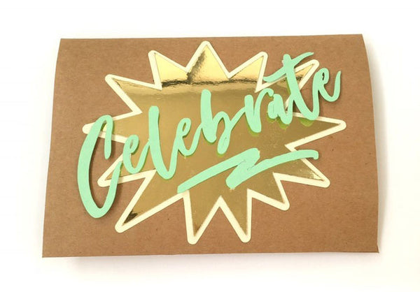 handmade celebrate card with gold foil background