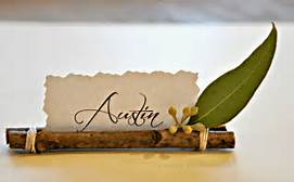 Thanksgiving place card  that is chic and classing with sticks and a leaf