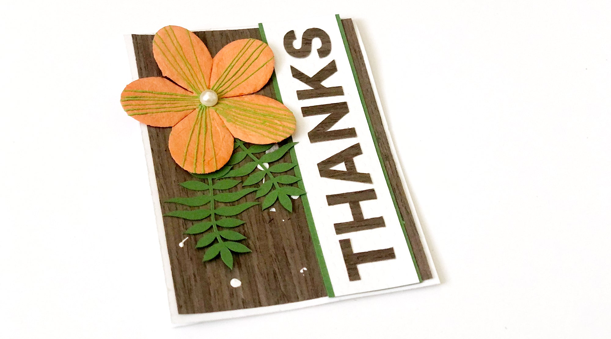 handmade card with thanks wood sentiment