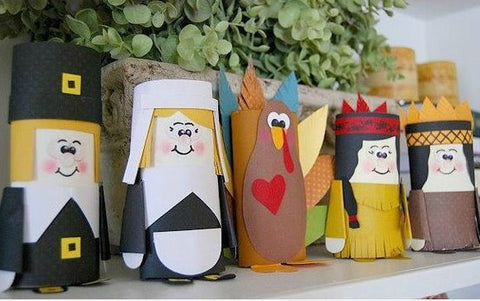Pilgrims made out of toilet paper rolls and cardstock