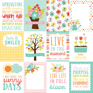 12x12 cardstock sheet with 12 journaling cards with spring messaging - from Echo Park Paper Co.