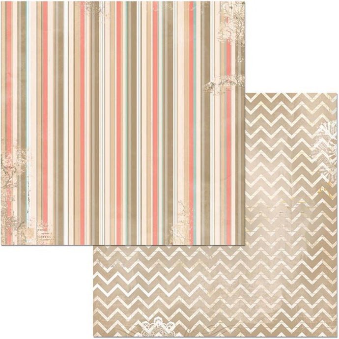The Avenues Stripe - 12x12 double-sided patterned paper with multi-colored stripes on one side and chevron pattern reverse - BoBunny