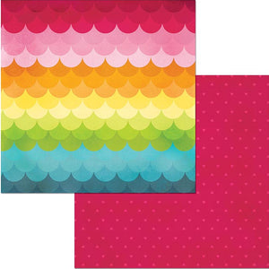 CHILL OUT double-sided 12x12 patterned cardstock by BoBunny - rainbow scallops and hearts reverse