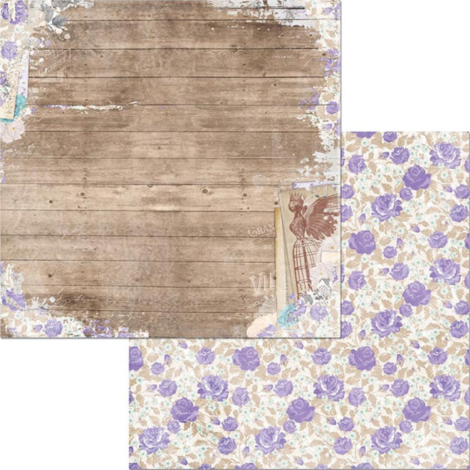 Woodworks - 12x12 double-sided patterned paper with wood planking on one side and lavender roses on reverse - BoBunny