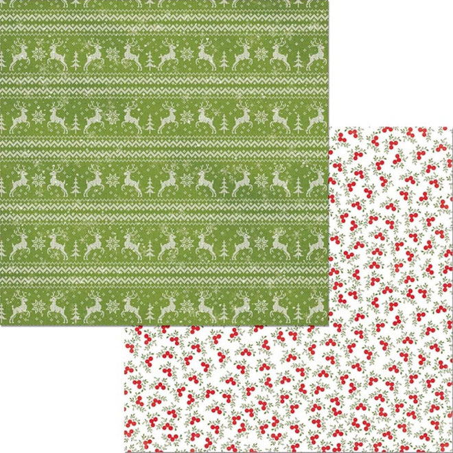12x12 double-sided patterned paper with Christmas sweater pattern and red berries on reverse - BoBunny
