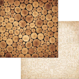 CAMPFIRE LOGS - 12x12 Double-Sided Patterned Paper - BoBunny