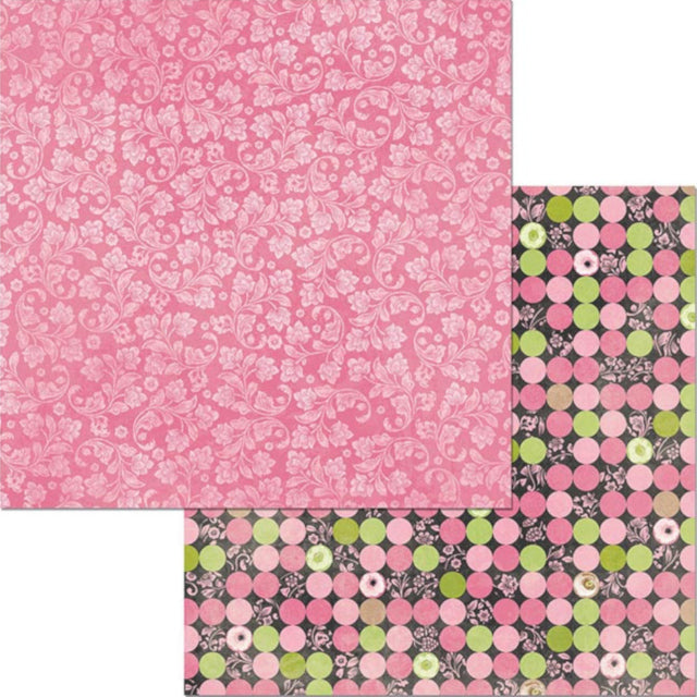 12x12 double-sided paper with pink damask on front and pastel dot design on reverse - BoBunny Press